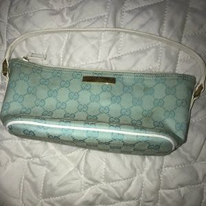 Authentic GUCCI TEAL Monogram Baguette Handbag